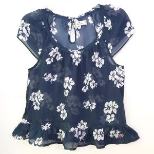 Hollister sheer floral babydoll keyhole bow top M